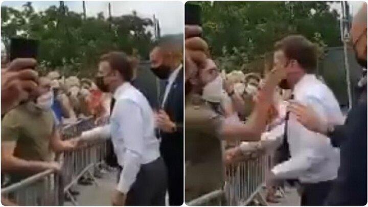 سیلی خوردن مکرون از یکی از معترضانش + ویدیو